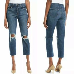 L'AGENCE Audrina Crop Jeans Blue Ripped Knee
